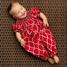 Baby Girl Red Lattice Smocked Romper – Lolly Wolly Doodle