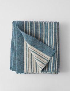 A new blanket design in the Mourne Textiles range. This double weave, which uses wool, originates from a design that Gerd Hay-Edie created in Gerd wo Blue Blanket, Mid Century Design, Bed Spreads, Blanket Design, Weaving, Textiles, Wool, Rugs, Classic