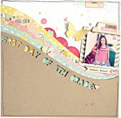 First Day of Grade Scrapbook Layout By ShannaNoel School Scrapbook, Scrapbook Page Layouts, Scrapbook Paper Crafts, Scrapbook Supplies, Scrapbook Cards, Cruise Scrapbook, Paper Crafting, Studio Calico, Have Time