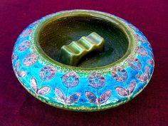 Vintage Handmade 1960s Italian Art Pottery Ashtray