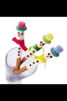 Snowman pretzel sticks