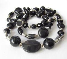 Glasketten - Perlen-Kette XL Glaskette schwarz-silber - ein Designerstück von soschoen bei DaWanda