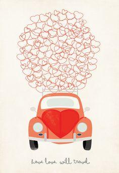 VW Love Bug Illustration Have Love Will Travel by ShopAmySullivan, $20.00