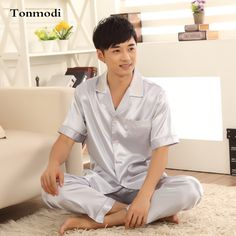 Pajamas For Men Summer Mens Silk Pyjamas Satin Short sleeve+Trousers Sleepwear Men's Lounge Pajama Sets Plus Size 3XL