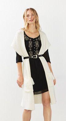 Kleid + Weste + Gürtel über Weste