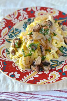 Scrambled Eggs with Caramelized Onions, Mushrooms, and Fresh Basil ...