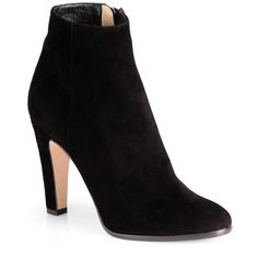 Jimmy Choo Monday Suede Ankle Boots (16,100 MXN) ❤ liked on Polyvore featuring shoes, boots, ankle booties, heels, botas, ankle boots, black, apparel & accessories, black ankle boots and black suede booties