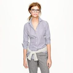 A menswear-inspired, geek-chic look from J.Crew.