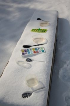 Colored ice cube trays for snow fun.
