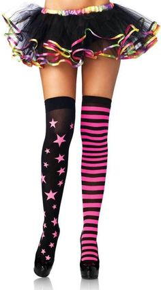 cd9f0513894 Adult Women Stars And Stripes Thigh Highs Hosiery Stars Women Adult Striped  Stockings