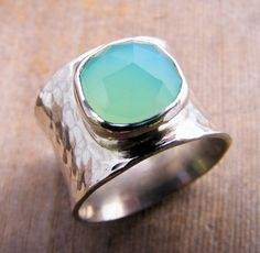 Wide Sterling Silver Ring Band with a Faceted Sea Foam Aqua Chalcedony Gemstone, Chunky Big Ring on Etsy, $168.00