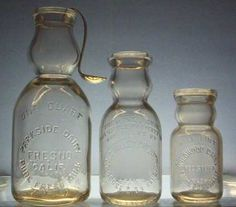 Embossed Cream Top Milk Bottles