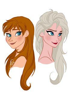 Elsa and Anna with their hair down! | Frozen | Art: juliajm15