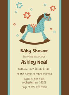 Girl baby shower invitation rocking horse baby shower invite cute rocking horse that you can change color baby shower invitation customizable with filmwisefo Gallery