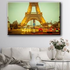 Large Size Box Framed Canvas Print Artwork Stretched Gallery Wrapped Wall Art Like Painting Hanging Original Decorative Modern Home & Living Decor Paris Pattern Bedroom Romance Mural France the Eiffel Tower City World