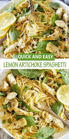 Easy fuss free Lemon Artichoke Pasta is perfect any night of the week! This vegetarian dinner recipe is cheap, easy and full of flavour. #spaghettirecipes #pastarecipes #easy #cheapdinnerrecipes @sweetcaramelsunday