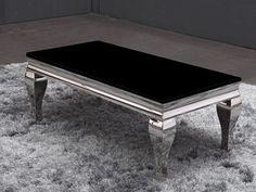 Cesar salongbord m/ svart marmor/hvitt stripemønster