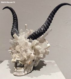"""Alexis Karl , creates amazing skulls using a variety of stones and naturally found elements. The 1st is """"Genus Rose Quartz"""", made of Quartz,..."""
