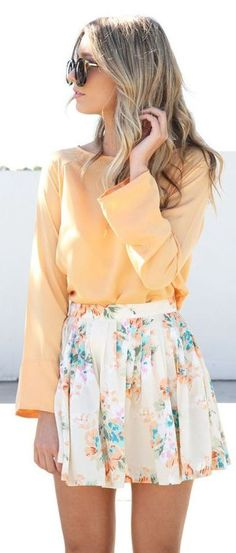 #Summer #Outfits / Long Sleeves Yellow Top + Floral Print Skirt