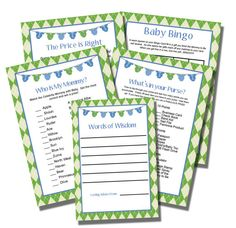 Baby Shower Games Blue Onsies INSTANT DOWNLOAD Printable - DIY Blue Green Grey Baby Boy