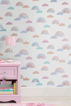 Buy Paste the Paper Dreaming of Rainbows Wallpaper from the Next UK online shop Bedroom Wallpaper Rainbow, Rainbow Bedroom, Kids Room Wallpaper, Paper Wallpaper, Wall Wallpaper, Striped Wallpaper, Butterfly Wallpaper, Glitter Furniture, Wall Stickers Room