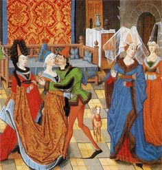 Look, I found Isobel and Guthfrith! =D Historie de Helayne, early XV illumination, French.
