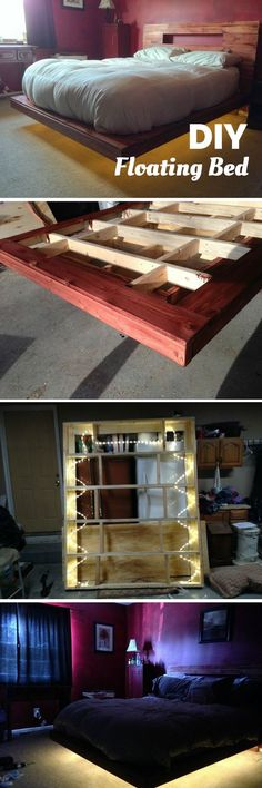 36 Easy DIY Bed Frame Projects to Upgrade Your Bedroom Diy Floating Bed Frame Diy Bed Fra 36 Easy DIY Bed Frame Projects to Upgrade Your Bedroom Diy Floating Bed Frame Diy Bed Fra Teen nbsp hellip bedding frame Bed Frame Plans, Diy Bed Frame, Floating Bed Frame, Deco Led, Diy Bett, Diy Pallet Bed, Diy Home Decor Rustic, Palette Diy, Wooden Bed Frames