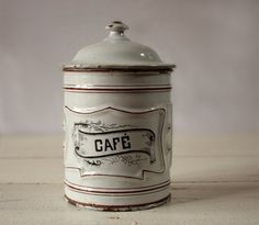 Beautiful FRENCH Enamel Coffee POT by RueDesLouves on Etsy, $60.00