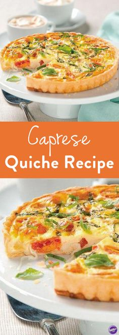 Caprese Quiche Recipe - Enjoy the fresh and aromatic flavors of a traditional caprese salad in a quiche. Juicy, red and yellow cherry tomatoes, fresh basil and melty mozzarella cheese are baked with eggs in a buttery crust for a breakfast you won't want to miss.