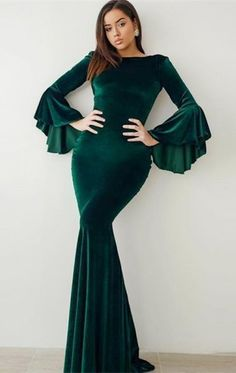 Prom Dress Plus Size, modest green velvet prom dresses with sleeves, unique flare sleeves mermaid party dresses,evening gowns Briarpatch Bridal Gold Prom Dresses, Prom Dresses For Sale, Prom Dresses With Sleeves, Prom Dresses Online, Party Dresses, Long Dresses, Dresses Dresses, Green Wedding Dresses, Bridesmaid Dresses