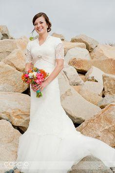 @Rebekah Riebow- A pretty, modest wedding dress