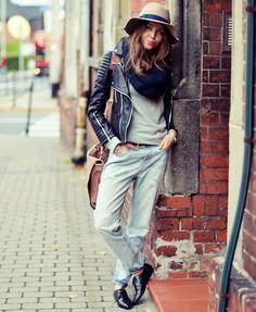 Leather jacket, boyfriend denim,Autumn