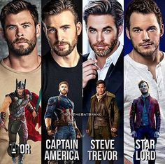 WHAT A CHRISIS OMG I LOVE THEM. I HAVE NOT SEEN WONDER WOMAN YET BUT I LOVE CHRIS PINE THO. MAH FAVS ARE CAP AND THOR BUT I LIKE QUILL TOO.