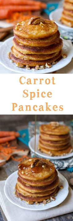 Who said pancakes are unhealthy?! Carrot Spice Pancakes, perfectly light and fluffy pancakes packed with carrots, ginger, and cinnamon!