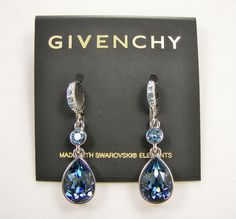 Givenchy POE Swarovski Sapphire Blue Crystal Teardrop Dangle Earrings MSRP $48 Only $37.99 with free shipping!