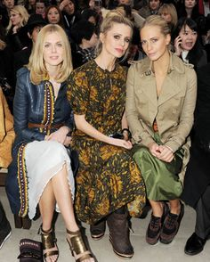 Burberry Prorsum Front Row  Donna Air, Laura Bailey and Poppy Delevigne