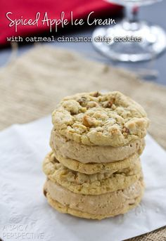 Spiced Apple Homemade Ice Cream with Oatmeal Cinnamon Cookies