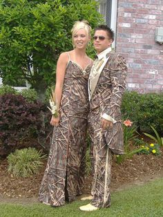 #Failure  1) Camo evening wear - save the camo for your duck blind 2) Rarely if ever does matchy-matchy work.  3) Really, did you think this through? The goal of formal wear is actually not to make you sink into the background.