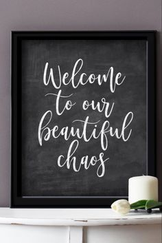 Welcome Chalkboard, Chalkboard Signs, Affordable Home Decor, Cheap Home Decor, Family Signs, Decorating On A Budget, Farmhouse Decor, Living Room Decor, Budgeting