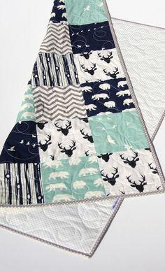 Woodland Quilt, Baby Boy Toddler, Nursery Bedding, Deer