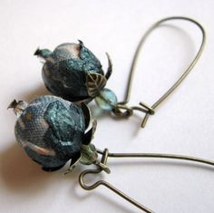 "Fabric and Paper Earrings ""FORGET ME NOTS""."