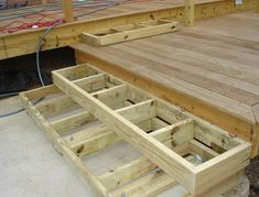 Build Deck Stairs Without Stringers Patio Steps, Outdoor Steps, Outdoor Patios, Outdoor Rooms, Outdoor Living, Building Deck Steps, Building Stairs, House Building, Steps Design