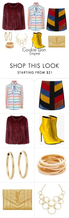 """""""Cookie Lyon"""" by sparkle1277 ❤ liked on Polyvore featuring Gucci, M.i.h Jeans, Meteo by Yves Salomon, Haider Ackermann, Kenneth Jay Lane, Yves Saint Laurent and Vera Bradley"""
