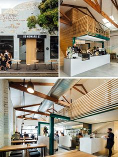 This modern coffee shop has been designed around the central service bar area.