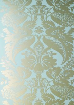 Duck egg blue - so soothing: Anna French Glamour Tyntesfield Duck Egg Blue and Gold - Wallpaper Dining Room Wallpaper, Fabric Wallpaper, Pattern Wallpaper, Flock Wallpaper, Wallpaper Borders, Bedroom Wallpaper, Gold Wallpaper Designs, Designer Wallpaper, Wallpaper Ideas