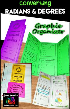 Great Tri-fold organizer  designed for your students to practice converting between degrees and radians.