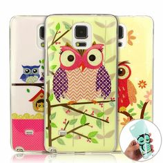 note4 Cute Owls Soft TPU Gel Cover Case for Samsung Note 4 NEW Cartoon Animal Owl Flowers ShockProof Phone Case Cover for Note 4