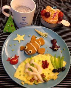"1 Likes, 1 Comments - Sagnny (@sagnny) on Instagram: ""[早餐]海底世界 小丑魚地瓜泥  #小米菓說怎麼沒有魟魚"""