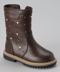 Another great find on #zulily! Brown Heart Stud Boot #zulilyfinds