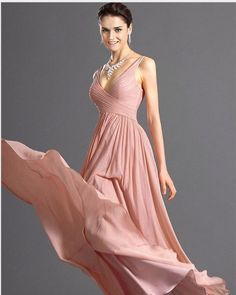 V-neck Backless Solid Spaghetti Strap Chiffon Long Bridesmaid Dress